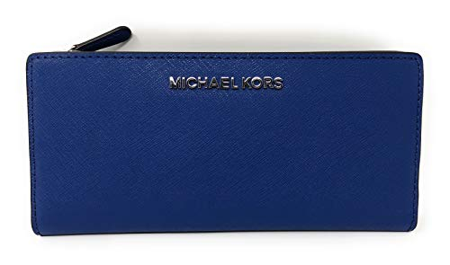 Michael Kors Jet Set Travel Large Card Case Carryall Leather Wallet in Sapphire/Black