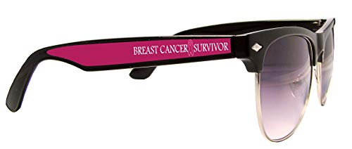 Breast Cancer Awareness Survivor Ribbon Black Retro Wire Sunglasses S2JT]()