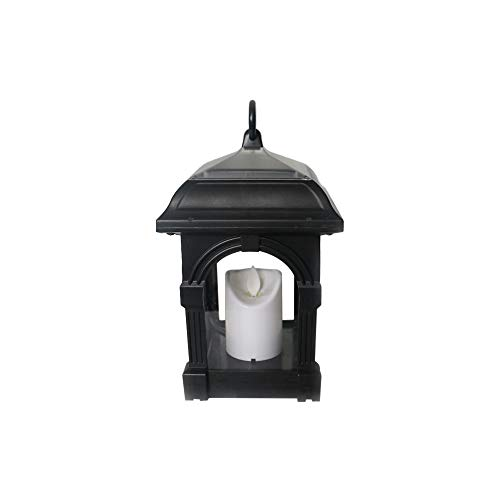 Lebeauty Solar Lantern Outdoor Black Solar Energy Saving lamp Candle Lanterns Waterproof Hanging Lamp Patio Lawn and Garden Decor Warm White Candles 126126220mm ()