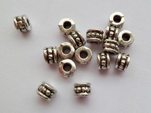 Lyndie's Craft Tibetan Silver dotted tube spacer beads 4.5mm x 6mm x 20 by Lyndie's Craft