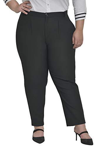 Martini Women Plus Size Formal High Waist Regular Fit Western Trouser Pant (Black, Size : 38-44)