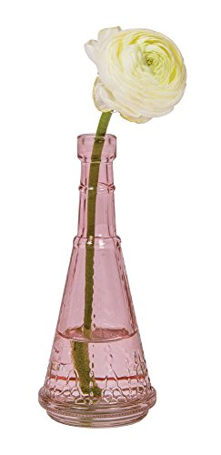 Luna Bazaar Small Vintage Glass Bottle (6.75-Inch, Marguerite Design, Vintage Pink, Set of 3) - Flower Bud Vase - For Home Decor, Party Decorations, and Wedding Centerpieces