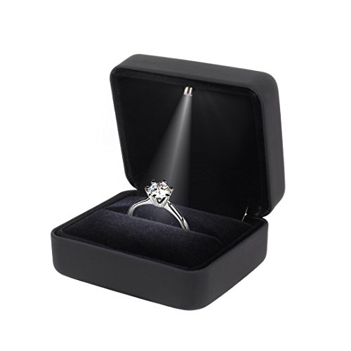 Naimo Velvet Engagement Ring LED Light Jewelry Gift Box (Black) by Naimo