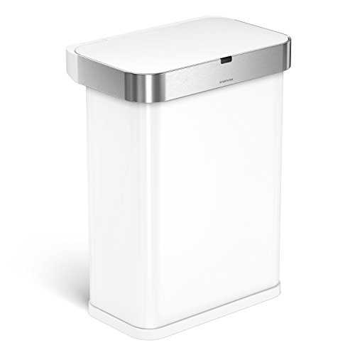 simplehuman 58 Liter / 15.3 Gallon 58L Stainless Steel Touch-Free Rectangular Kitchen Sensor Trash Can with Voice and Motion Sensor, Voice Activated, White Steel