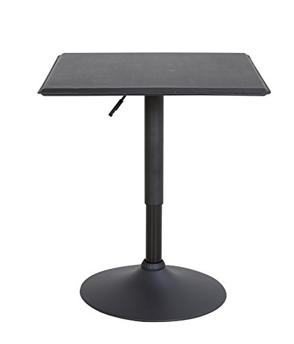 LCH 23.6'' PU Top Adjustable Square Dining Bar Table Kitchen Home Bar Furniture, Black by LCH
