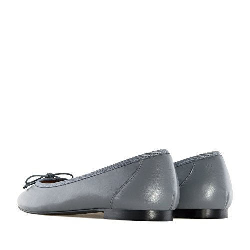 Andres Machado.marta.ballet Flats In Leather.made In Spain.womens Large Szs: Us 10.5 To 13 / Eu 42 To 45 Grey Leather
