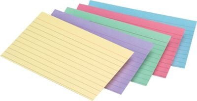 Staples Line Ruled Pastel Assorted Color Index Cards, 5