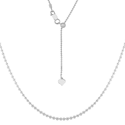 NYC Sterling Women Diamond Cut Beaded Adjustable Necklace