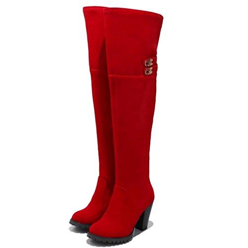 RAZAMAZA Women Fashion Boots Zipper Red iccVh