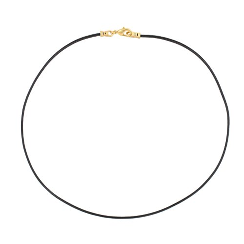 Gold Plated 1.8mm Fine Black Leather Cord Necklace - 24 inches by DragonWeave (Image #1)