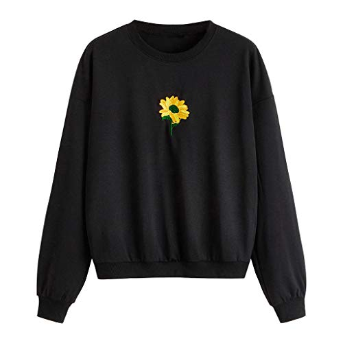 - Cewtolkar Womens Sweatshirt Sunflower Print Blouse Autumn Pullover Tops Junior Back to School Tops Party Sweater Black