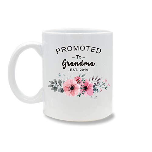Funny Mug,Suprise Promoted to Grandma 2019 11 OZ Coffee Mug Novelty, Office Tea Travel Mugs, Printed Ceramic Water Tea Drinks Cup ()