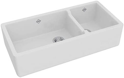 Rohl RC4019WH 39-1 2-Inch by 18-1 2-Inch by 10-Inch Deep Shaws Rutherford Plain Apron Front Fireclay Kitchen Sink, White