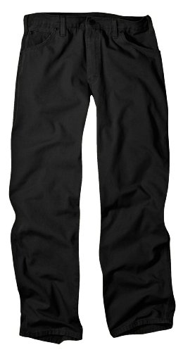Cotton 5 Pocket Jean - Dickies Men's Relaxed Fit Duck Jean, Black, 32x32