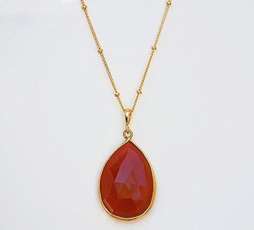 (Large Teardrop Carnelian Chalcedony Necklace, Rusty Orange Gemstone Necklace, Pear Shape Carnelian Necklace, 18x25mm Teardrop Pendant Necklace)