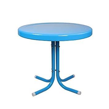 LB International Outdoor Retro Metal Tulip Side Table, Turquoise Blue