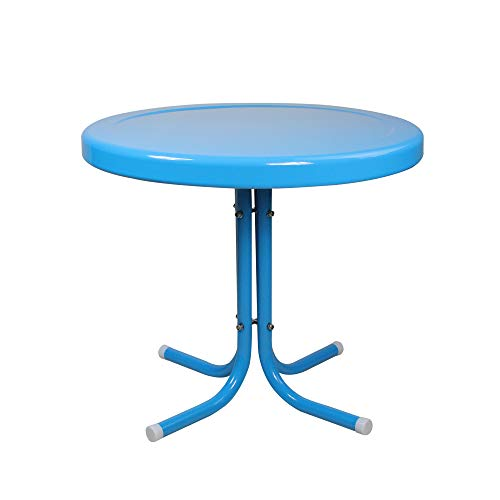 LB International Outdoor Retro Metal Tulip Side Table, Turquoise Blue
