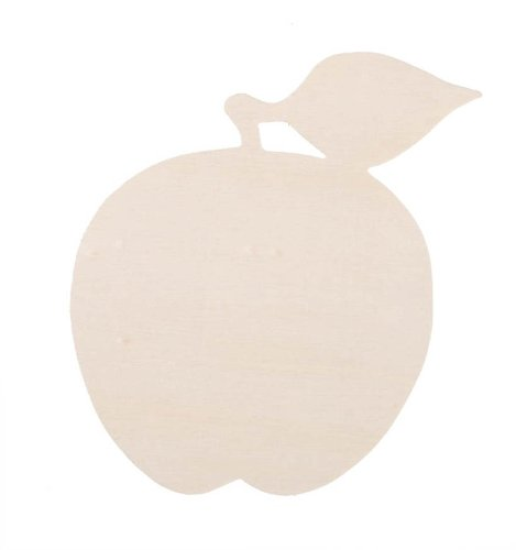 Darice 9189-23 Unfinished Wood Simple Shape Cutout, Apple, 3mm Apple Shape Cut Out