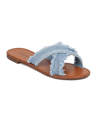 Breckelle's Women Frayed Denim Sandal - Open Toe Flat Sandal - Cross Band Slipper - GH47 by Blue Denim (Size: 6.0) (Jeans 560 Fit Comfort)
