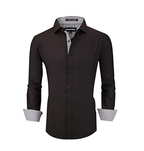 Casual King Mens Dress Shirts Wrinkle-Free Long Sleeve Button Down Formal Shirt (Black, RXLarge)