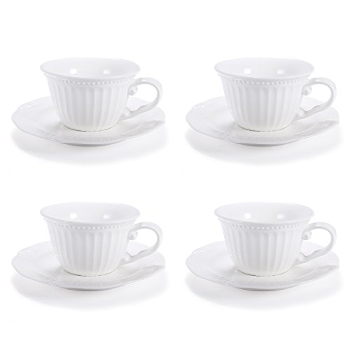 White Porcelain Teacup Coffee/Tea Cups and Saucer Sets,Embossed Stripe,Set of 4,5-Ounce