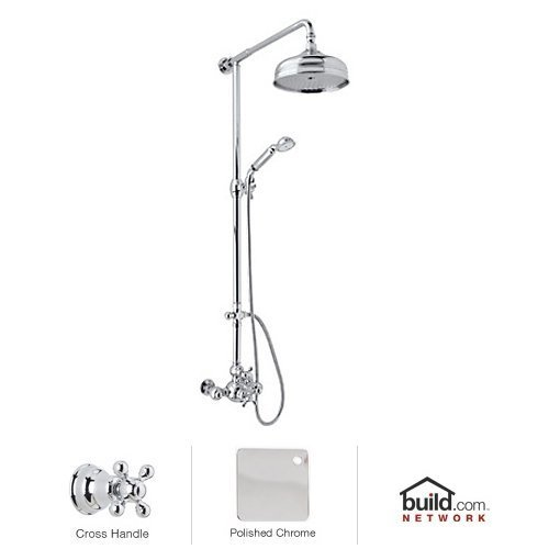 Exposed Thermostatic Bath Shower (Rohl AC407X-APC Cisal Shower System with Exposed Thermostatic Valve, Shower Head, Polished Chrome)
