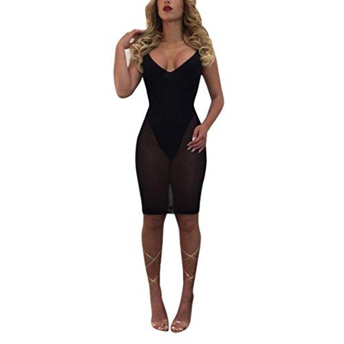 Creazydog Femmes Creazy Bandage Bodycon Club Cocktail Soirée Courte Sans Manches Mini Robe Noire
