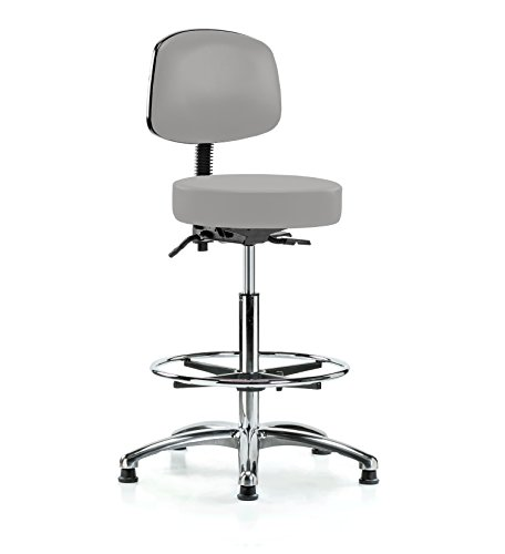 PERCH Chrome Walter Stationary Height Adjustable Doctor's Stool with Back and Footring | Counter Height | 300-Pound Weight Capacity | 12 Year Warranty (Gray Vinyl) (Physician Stool Adjustable)