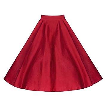 CHZDDQ Falda Corta 50 Años Vintage Mujer Retro Rosa Roja Bouquet ...