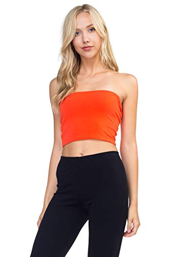 Women's J2 Love Cotton Tube Crop Top, Small, Orange