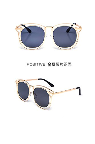 Miss fang xing Round face Sunglasses Metal Arrow Unique Fashion Sunglasses Fashion Sunglasses (Gray Gold Frame Sheet