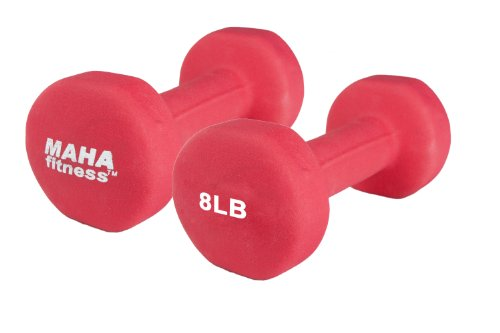 Maha Fitness Neoprene Coated Dumbbells 2 Pack (8 LB)