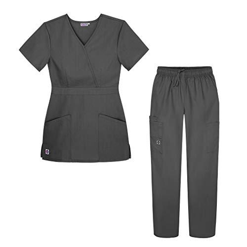 Sivvan Women's Scrub Set - Multi Pocket Cargo Pants & Stylish Mock Wrap Top - S8401 - CHR - XS - 30 Pant Polyester Inch