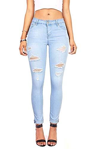 Women's Stylish Boy Friend Distressed Stretch Skinny Juniors Raw Hem Jeans Light Blue