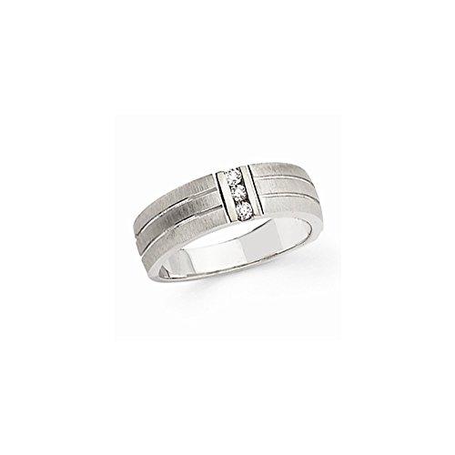 14k White Gold Diamond Mens Band Ring