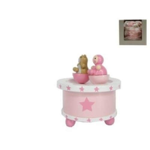 pink Gisela Graham stars spinning baby music box with teddy bear