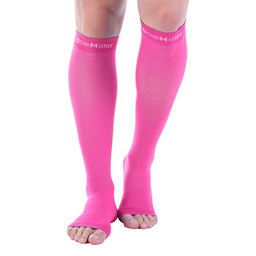 Doc Miller Open Toe Compression Socks 1 Pair 20-30mmHg Support (Pink, L)