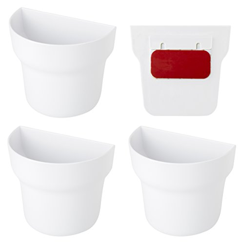 Vigar Green Collection 3-Unit Wall Pot System, Lightweight Planters with Water Grids, Flat Back Design with Adhesive for Easy Mounting, Green and White