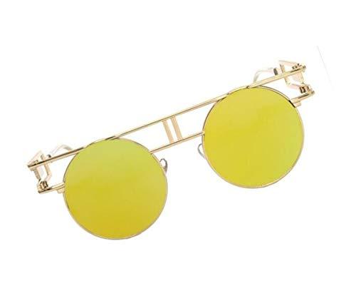 FlowerKui sol Gafas Protección de Conducción de Golden sol Marco UV400 Pesca Decoración Hombres Redondo Mujeres Gafas rA16wqarf