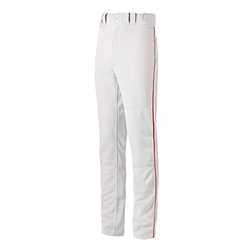 Mizuno Youth Premier Pro Piped G2 Baseball Pant, White-Red, Youth XX-Large