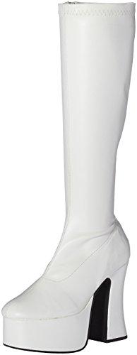 Demonia Door Pleaser Women Slick-100 Platform Boot White Stretch Pu