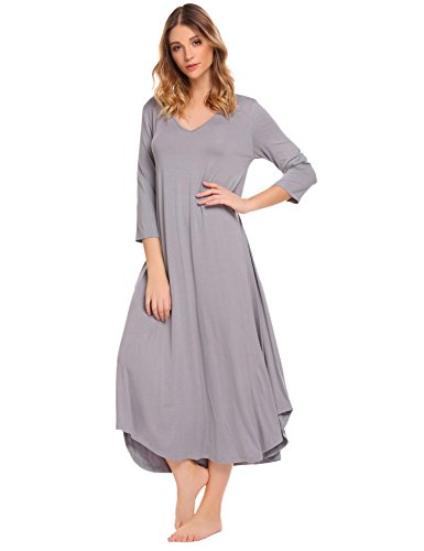 Lamore-Womens-Nightgown-Short-Sleeve-Sleepwear-Cotton-Pajamas-Nightgown-Sleep-Dress