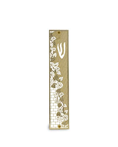 (Israeli Center Of Judaica Perspex Mezuzah with Cut-Out Leaf and Floral Forms and Textured Paneling in Gold-Plated Brass)