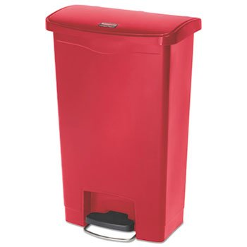 Slim Jim Resin Step-On Container, Front Step Style, 13 Gal, Red