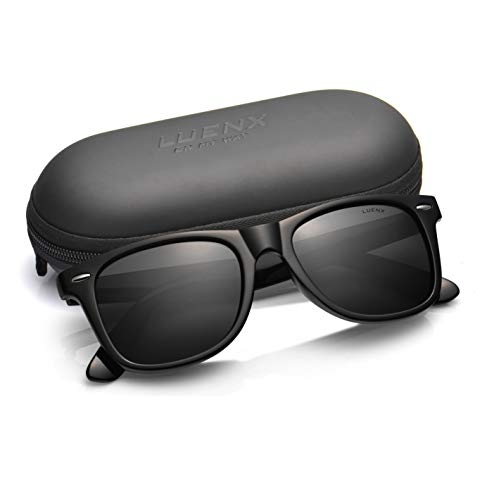 Mens Polarized Sunglasses for Womens UV 400 Protection Black Lens Glossy Black Frame 54MM,by LUENX with Case (Gloss Black Fade Frame)
