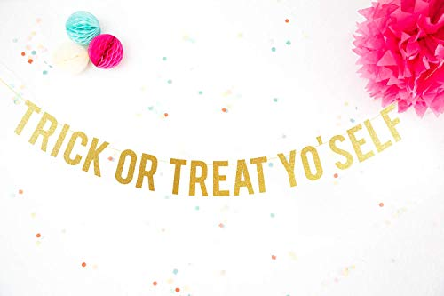 Halloween Banner Glitter Trick or Treat Yo'self Halloween party decorations Halloween decor Chic celebration
