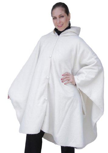 Alpaca Hooded Wool Cloak Cape, Ivory