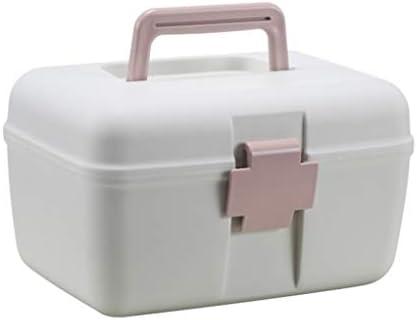 家庭用救急箱 薬箱 収納箱 ツールボックス 応急ボックス 多機能収納ケース 二層大容量 収納ボックス 出張 旅行 アウントドア 取っ手付き 持ち運び便利 24.5*18.5*14.5cm ピンク ブルー グリーン