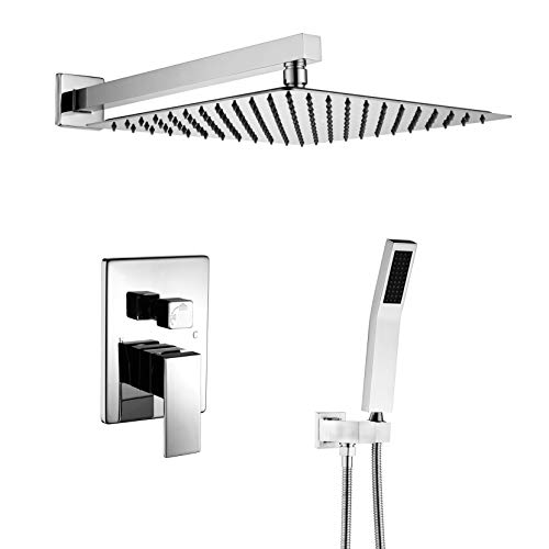 Shower Mount Wall Valve (Artbath Shower System-12 Inch Wall Mount Shower Set with Rain Showerhead and handheld,Shower Faucet Rough-In Valve Body and Trim Included,Luxury Rain Shower Combo Set,Chrome Finish)