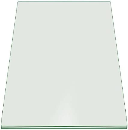 Fab Glass and Mirror 16 x 30 Rectangle 3 8 Thick Tempered Pencil Edge Polish Touch Corners Glass Table Top, Clear